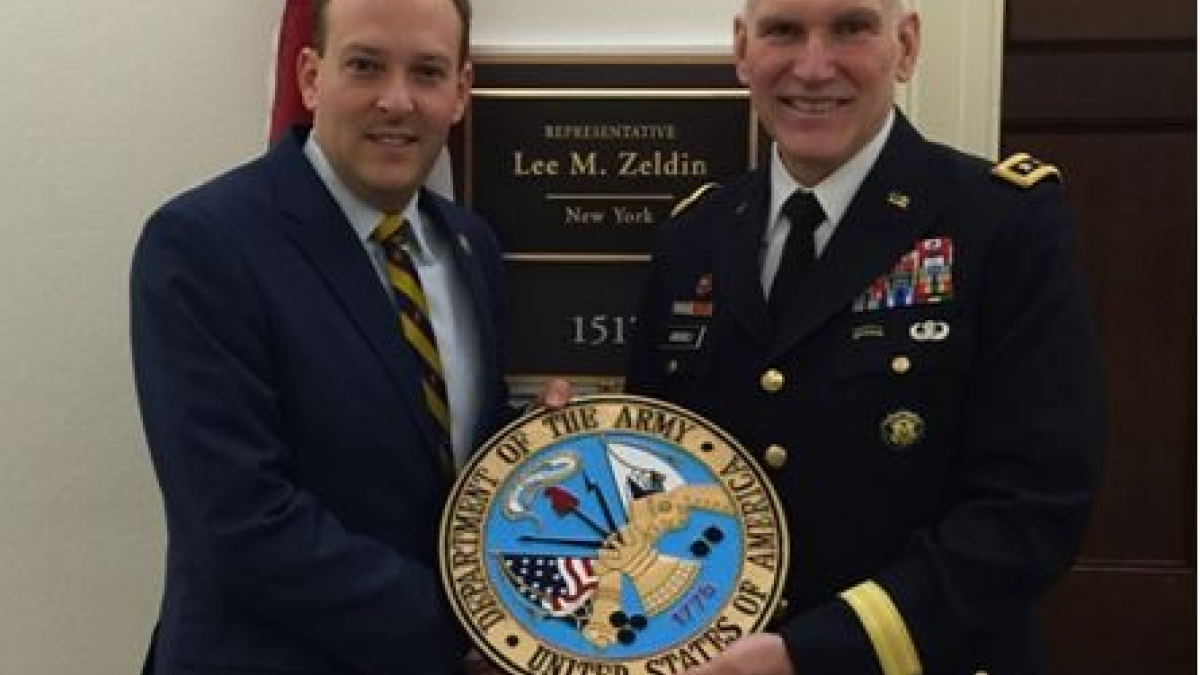 Congressman Lee Zeldin Presented with Army Seal for Office