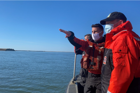Congressman Zeldin joins Coast Guard in surveying shoaling at the Long Island Intracoastal Waterway and Moriches Inlet.